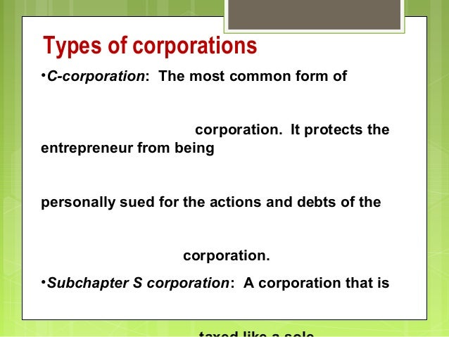 Legal Forms Of Business Ownership Om - Corporation legal form