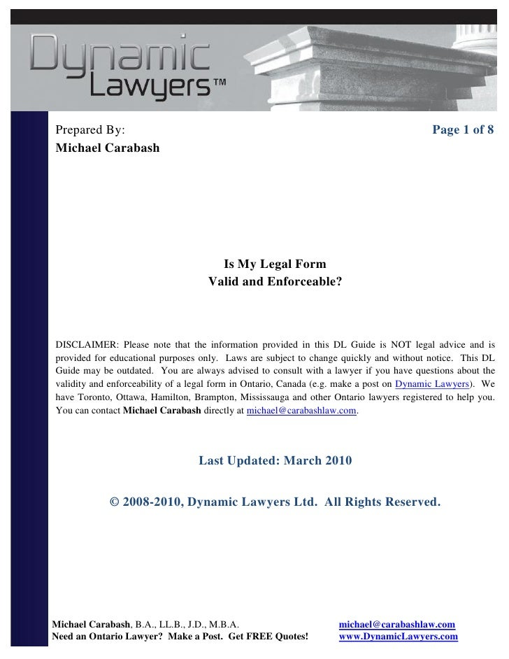 Ontario law forms