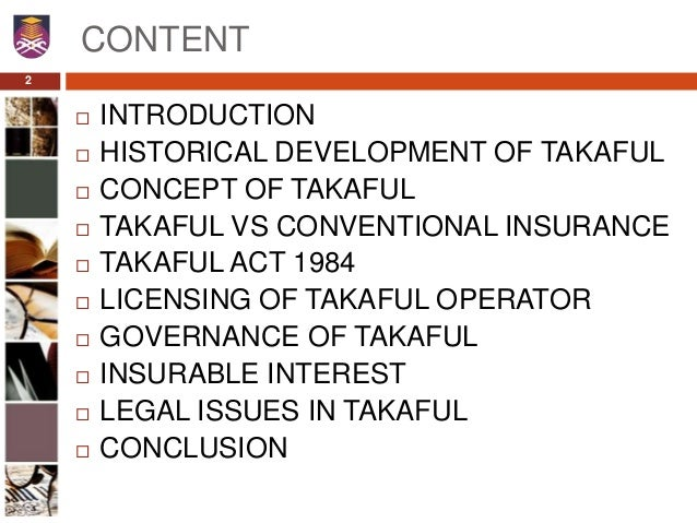 the concept of takaful and risk Takaful vs conventional insurance based on the concept of shared conventional insurance involves making investments that can incur risk and.