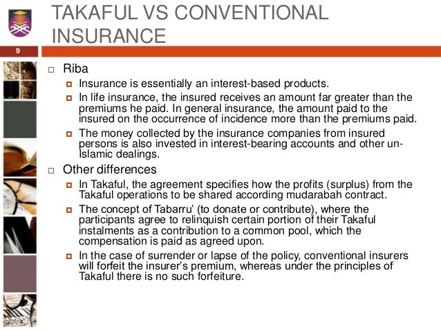 conventional insurance versus takaful In conventional insurance, the more cases processed for insurance  claim ratio is used to measure the number of road accident cases versus takaful claim.