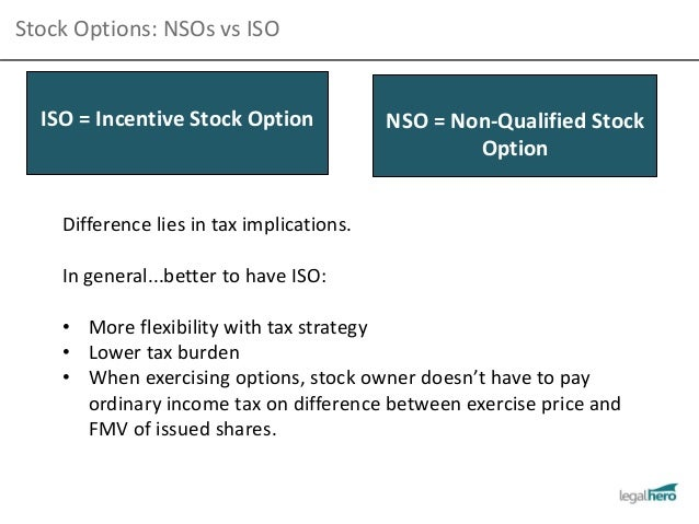 Difference between incentive stock options and non qualified stock options