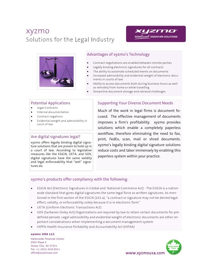 xyzmo Solutions for the Legal Industry                                             Advantages of xyzmo's Technology       ...