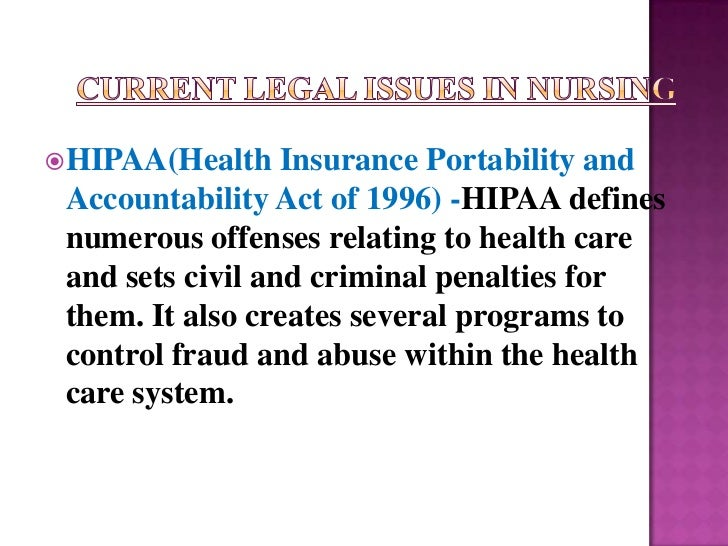  HIPAA(Health    Insurance Portability and Accountability Act of 1996) -HIPAA defines numerous offenses relating to healt...