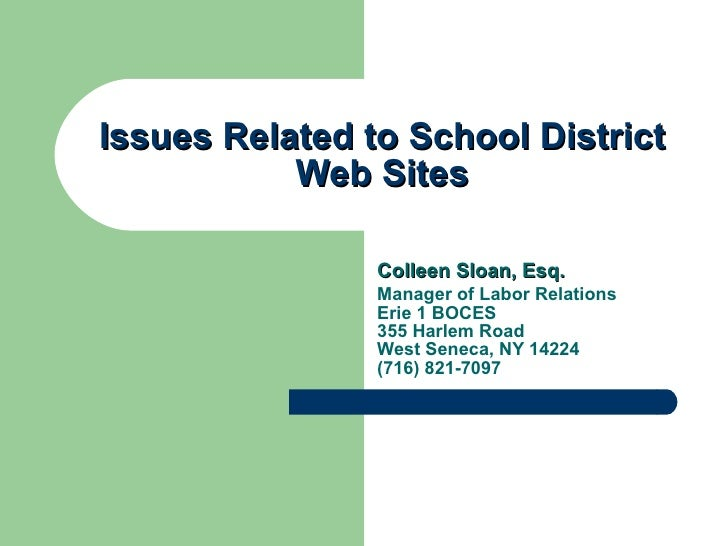Issues Related to School District Web Sites Colleen Sloan, Esq. Manager of Labor Relations Erie 1 BOCES  355 Harlem Road W...