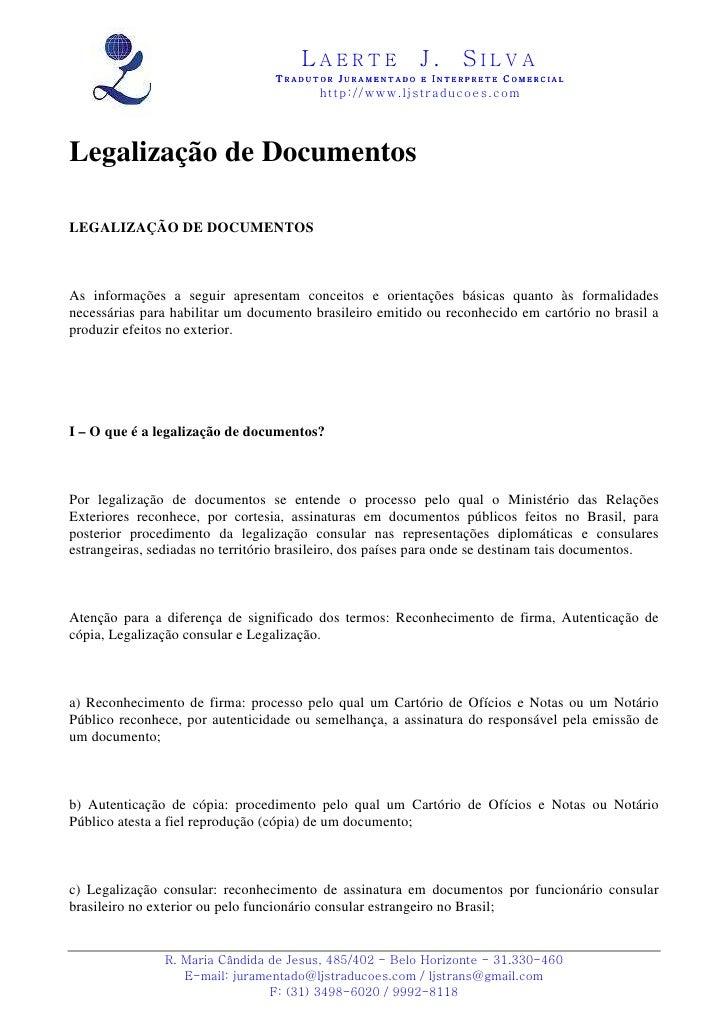 Legalização de documentos em belo horizonte