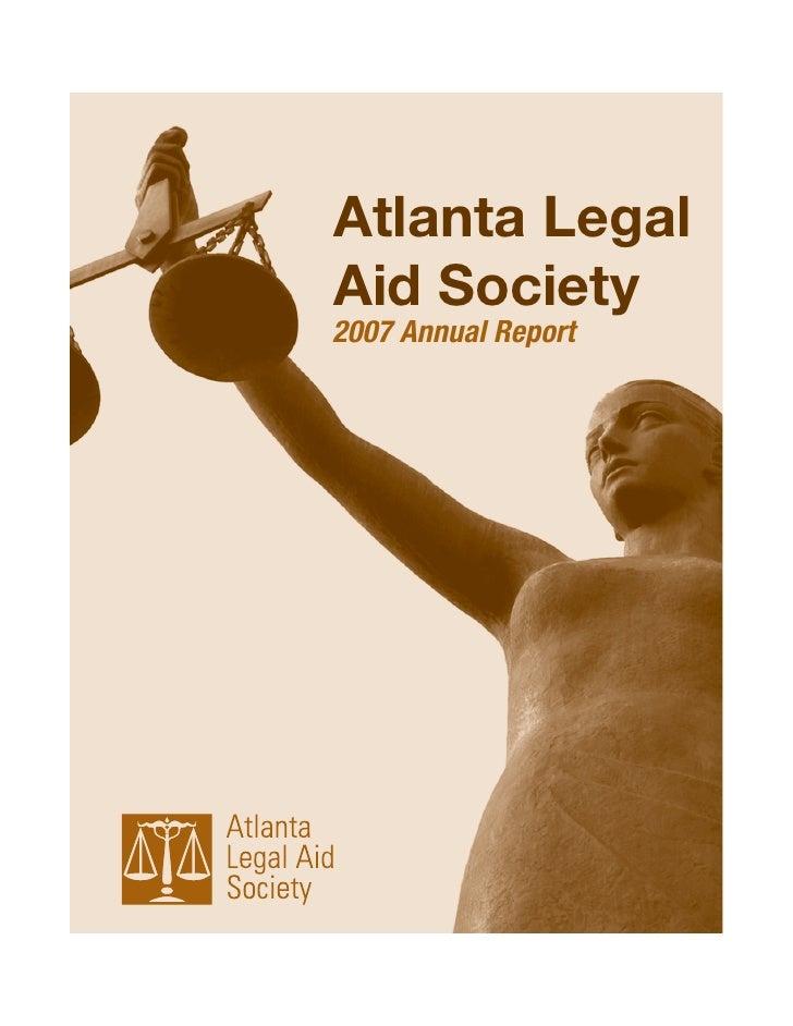 Atlanta Legal Aid Society 2007 Annual Report