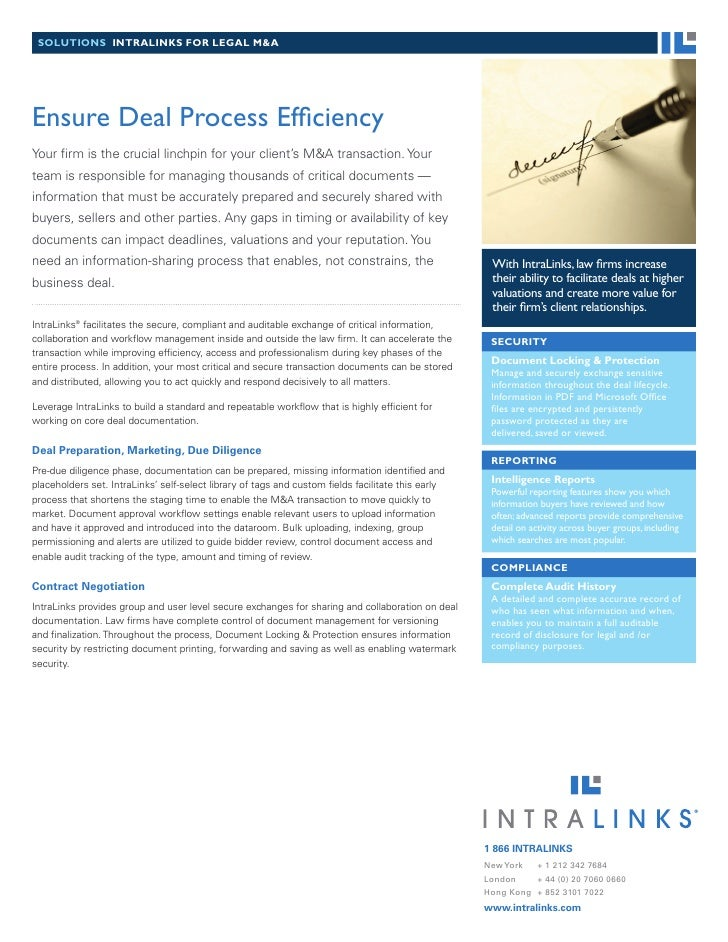 solutions intralinks for legal M&a     Ensure Deal Process Efficiency Your firm is the crucial linchpin for your client's ...