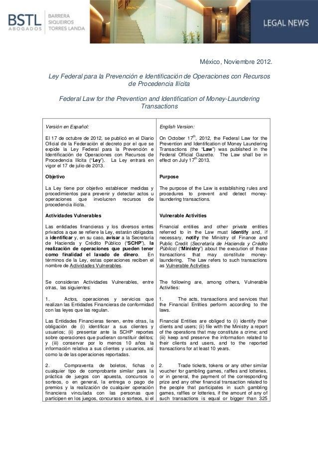 México, Noviembre 2012. Ley Federal para la Prevención e Identificación de Operaciones con Recursos                       ...