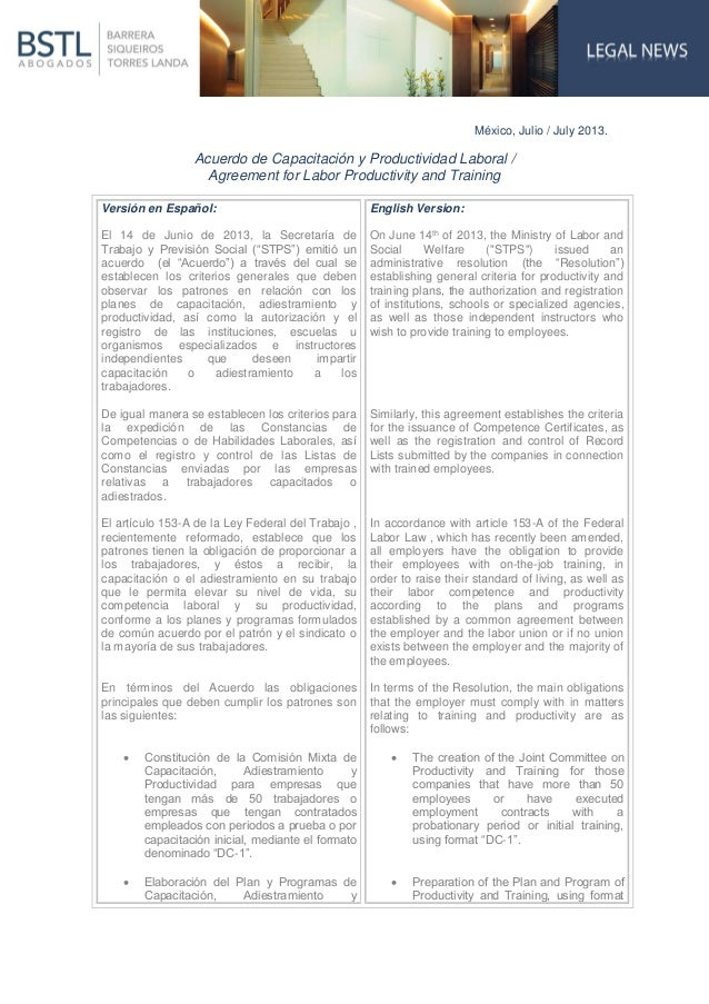 México, Julio / July 2013. Acuerdo de Capacitación y Productividad Laboral / Agreement for Labor Productivity and Training...
