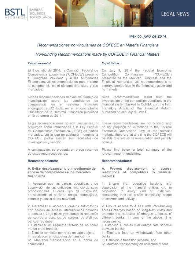 México, julio de 2014. Recomendaciones no vinculantes de COFECE en Materia Financiera Non-binding Recommendations made by ...