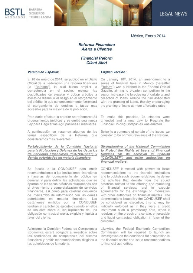 México, Enero 2014 Reforma Financiera Alerta a Clientes Financial Reform Client Alert Versión en Español:  English Version...