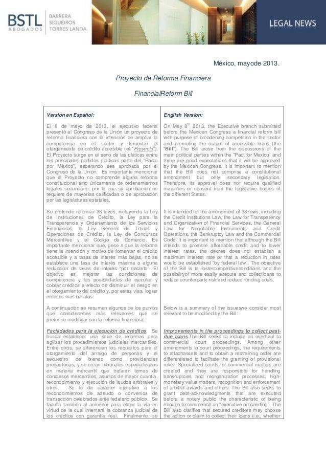 México, mayode 2013.Proyecto de Reforma FinancieraFinancialReform BillVersión en Español:El 8 de mayo de 2013, el ejecutiv...