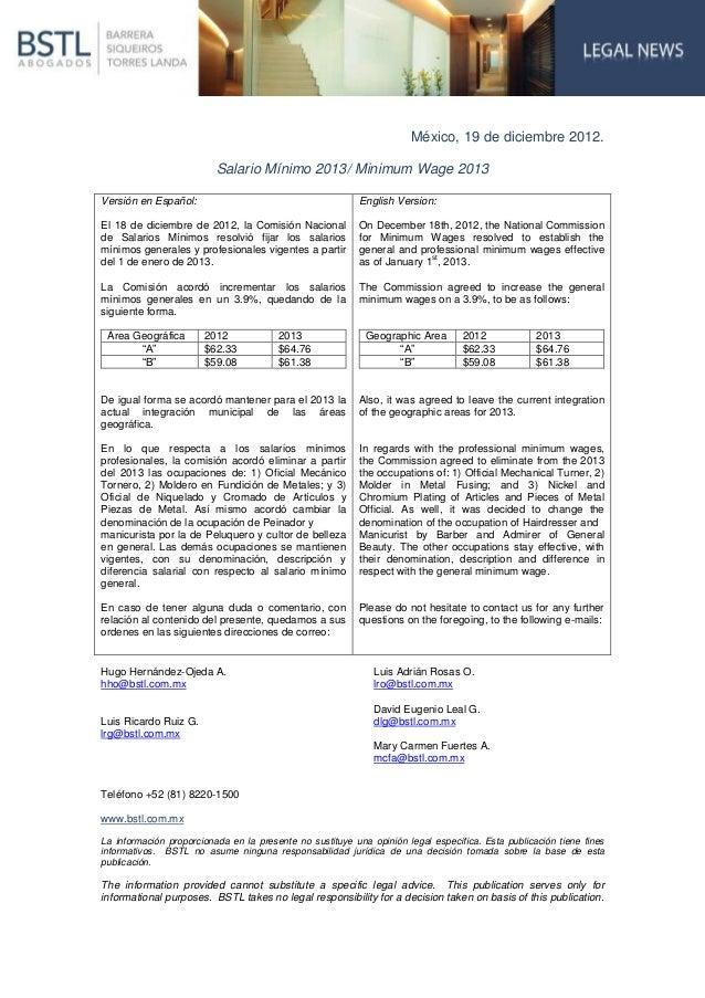 México, 19 de diciembre 2012.                          Salario Mínimo 2013/ Minimum Wage 2013Versión en Español:          ...