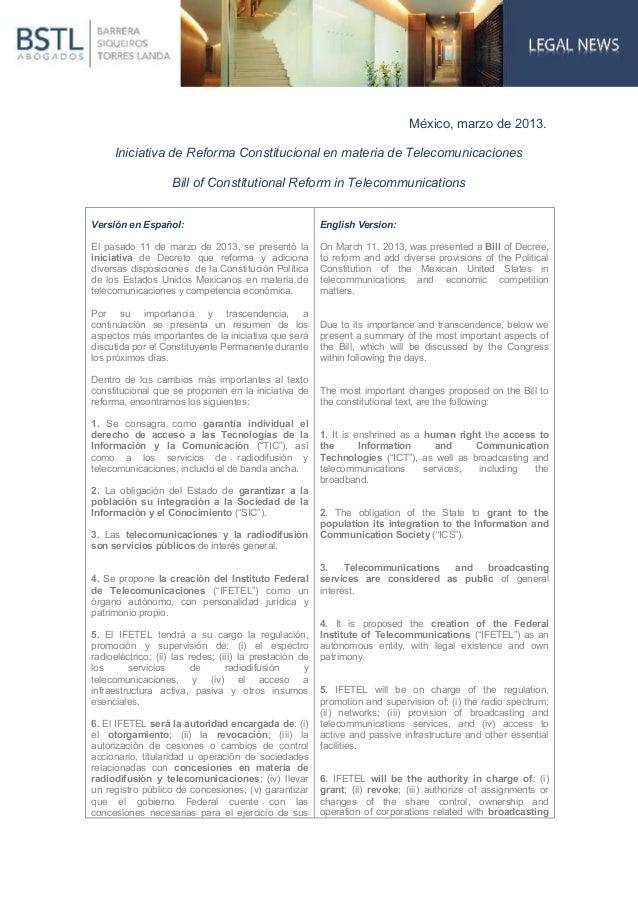 México, marzo de 2013.     Iniciativa de Reforma Constitucional en materia de Telecomunicaciones                    Bill o...