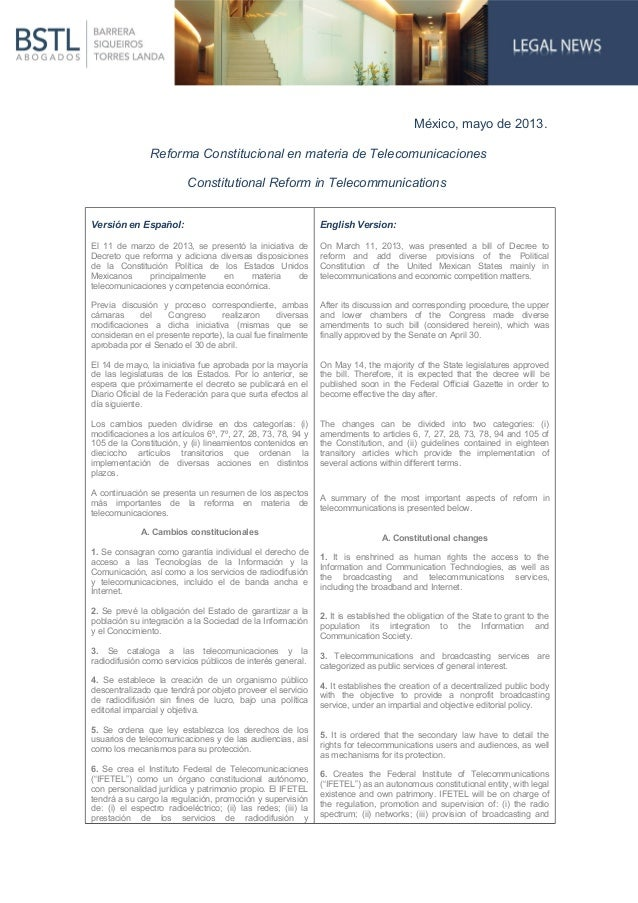 México, mayo de 2013.Reforma Constitucional en materia de TelecomunicacionesConstitutional Reform in TelecommunicationsVer...
