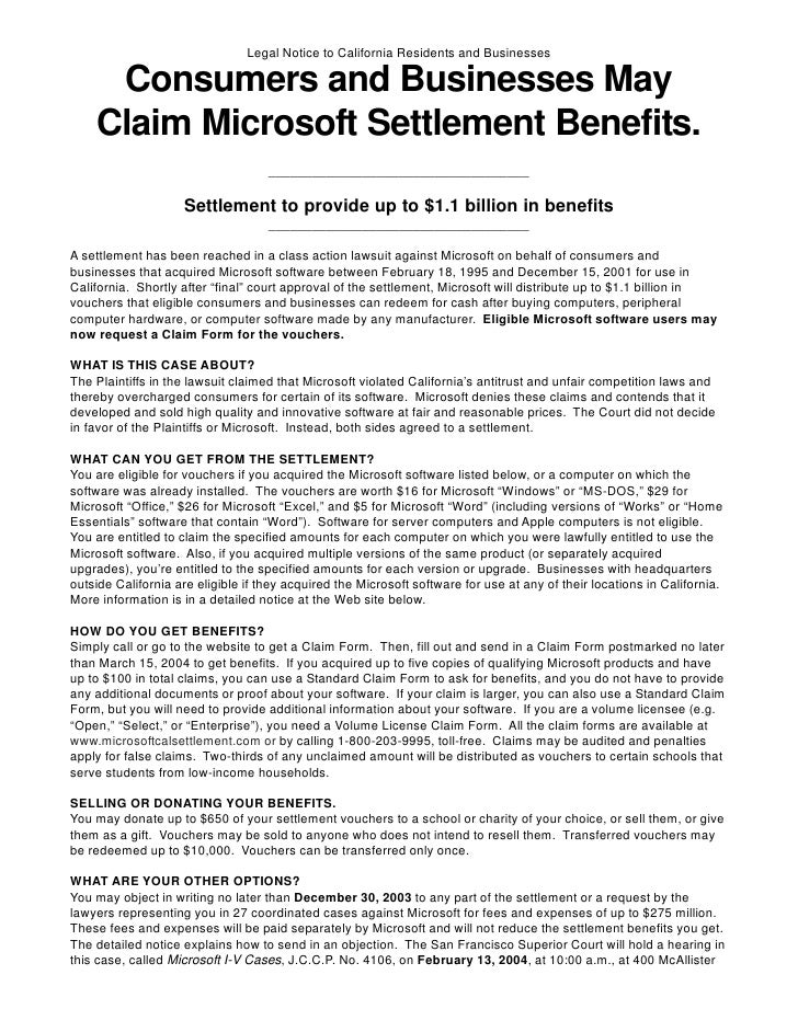 Legal Notice to California Residents and Businesses       Consumers and Businesses May     Claim Microsoft Settlement Bene...