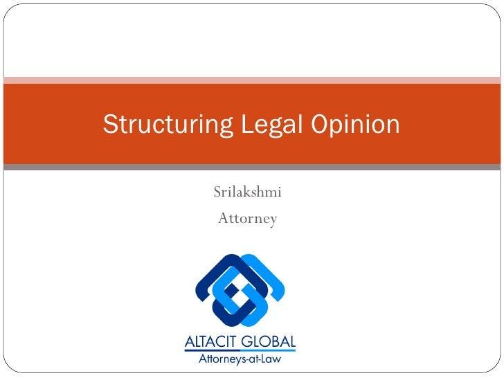 Srilakshmi Attorney Structuring Legal Opinion