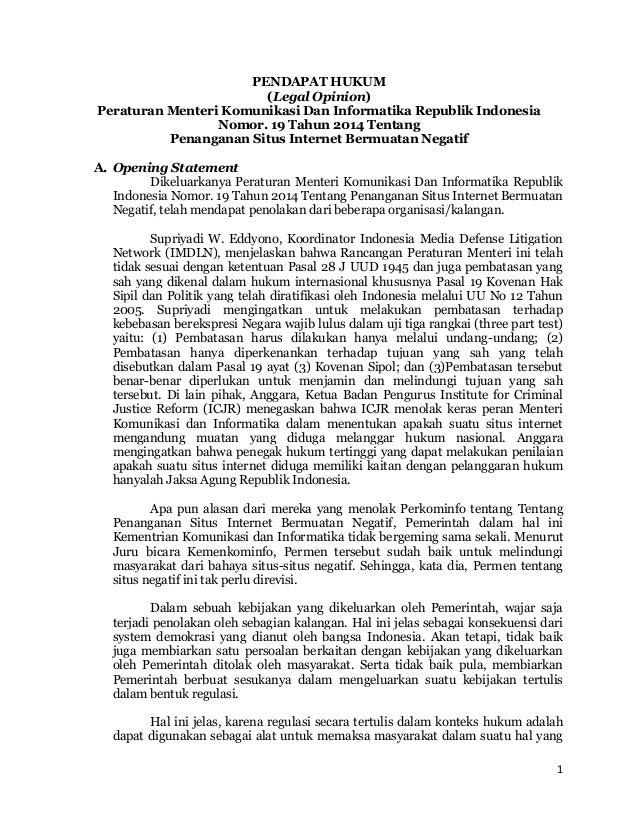 1 PENDAPAT HUKUM (Legal Opinion) Peraturan Menteri Komunikasi Dan Informatika Republik Indonesia Nomor. 19 Tahun 2014 Tent...