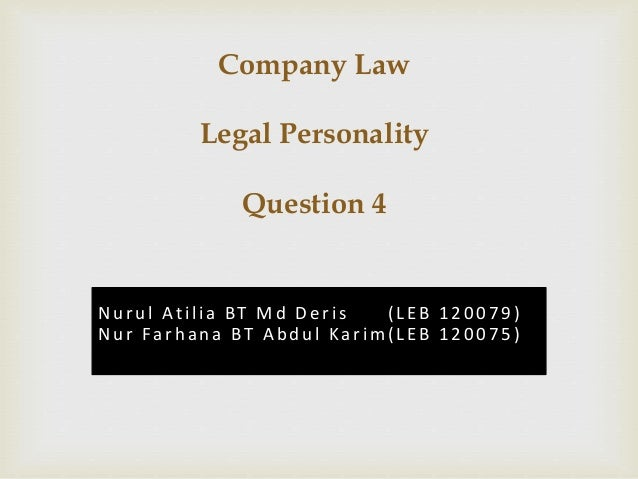 separate legal personality company law essay