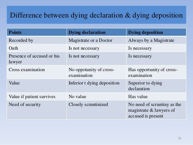 dying declaration and dying deposition