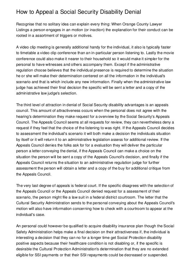 disability appeal letter