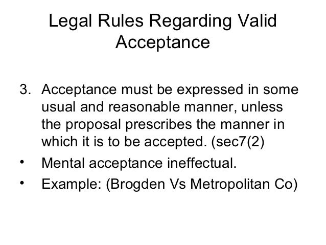 legal rules of acceptance with examples