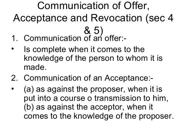 rules of offer and acceptance