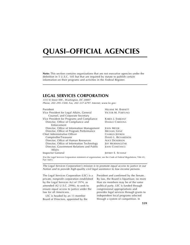 QUASI–OFFICIAL AGENCIES                                                                        Note: This section contains...