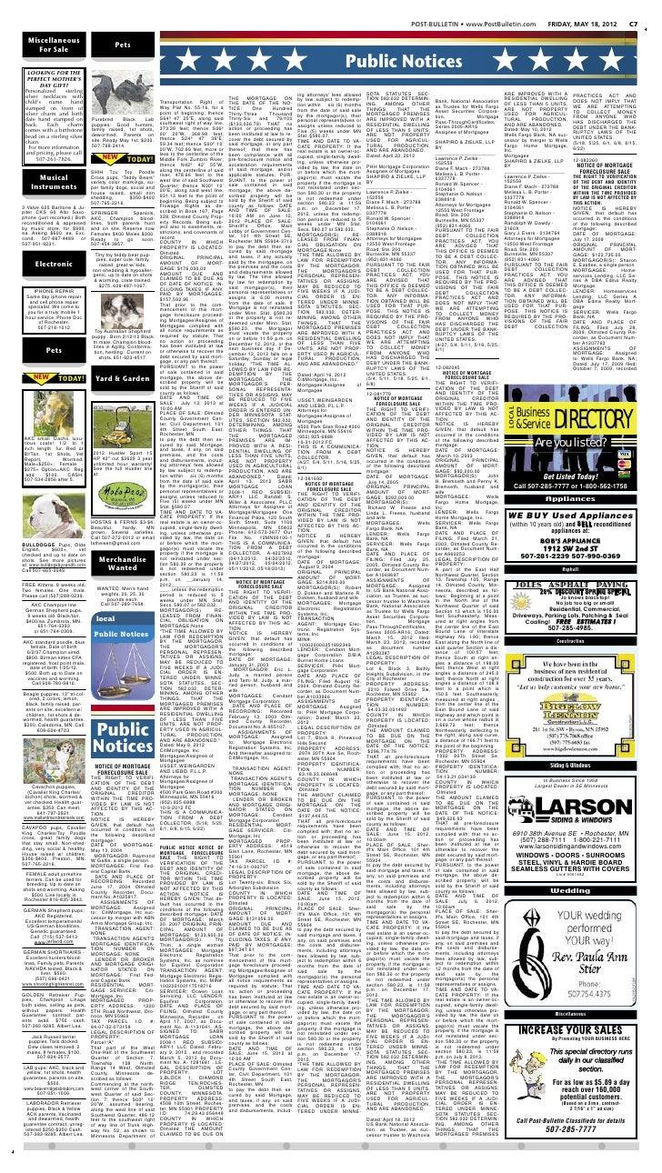 POST-BULLETIN • www.PostBulletin.com                            FRIDAY, MAY 18, 2012                C7  Miscellaneous     ...