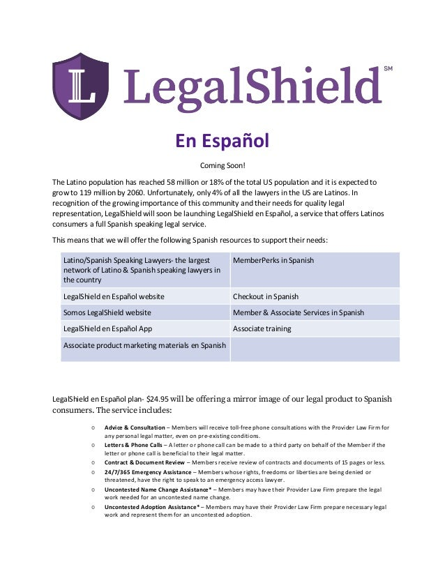 Spanish leave behind card legalshield store.