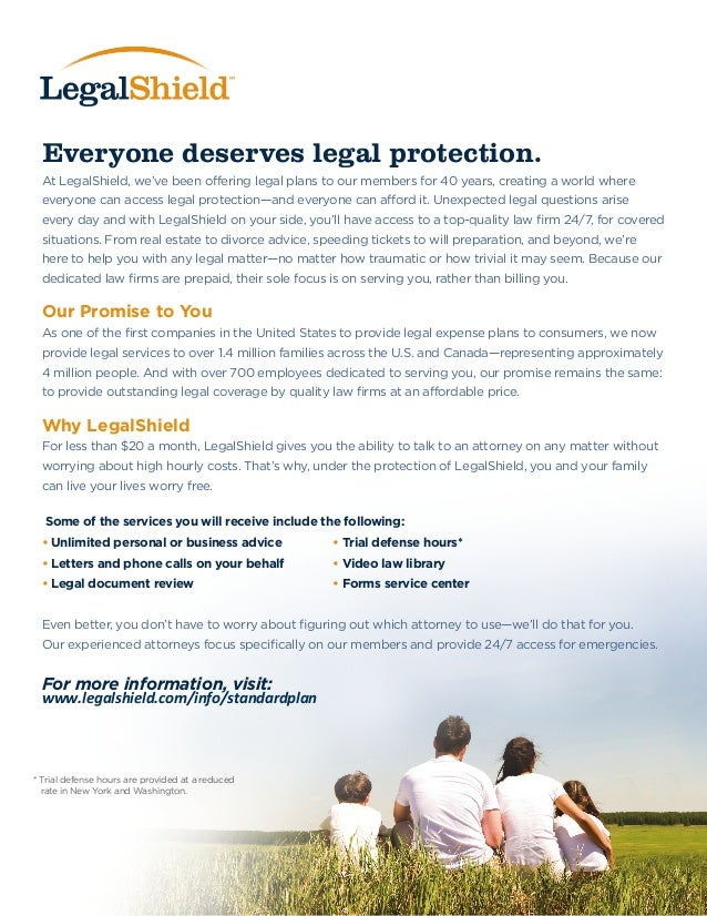 Everyone deserves legal protection. At LegalShield, we've been offering legal plans to our members for 40 years, creating ...