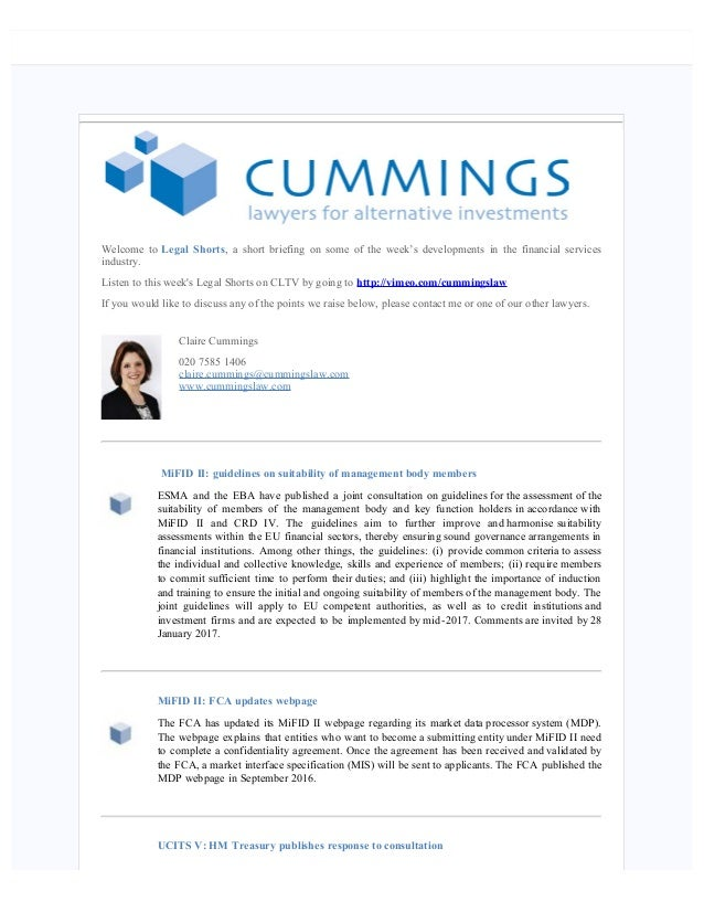 Legal Shorts 041116 Including Mifid Ii Guidelines On Suitability Of