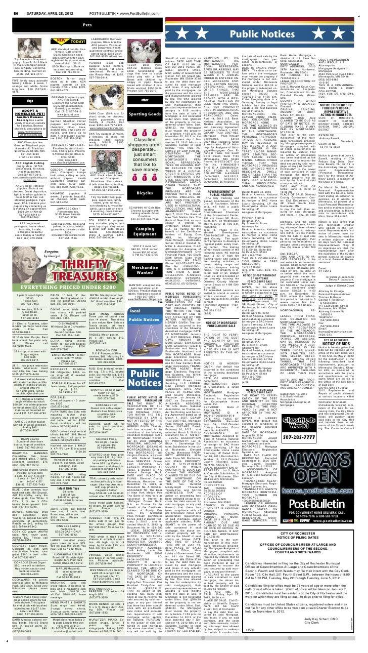 E6          SATURDAY, APRIL 28, 2012                               POST-BULLETIN • www.PostBulletin.com                   ...