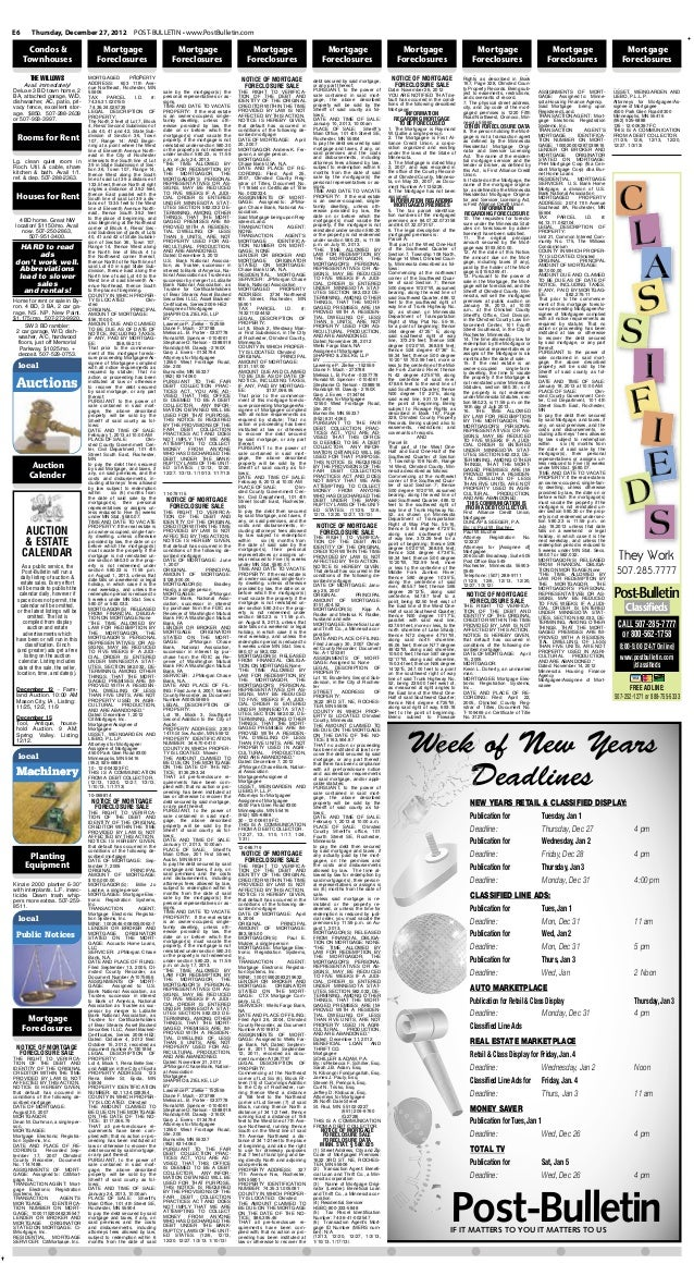 E6      Thursday, December 27, 2012                      POST-BULLETIN • www.PostBulletin.com      Condos &               ...