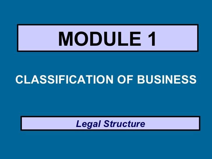 MODULE 1 <ul><li>CLASSIFICATION OF BUSINESS </li></ul>Legal Structure