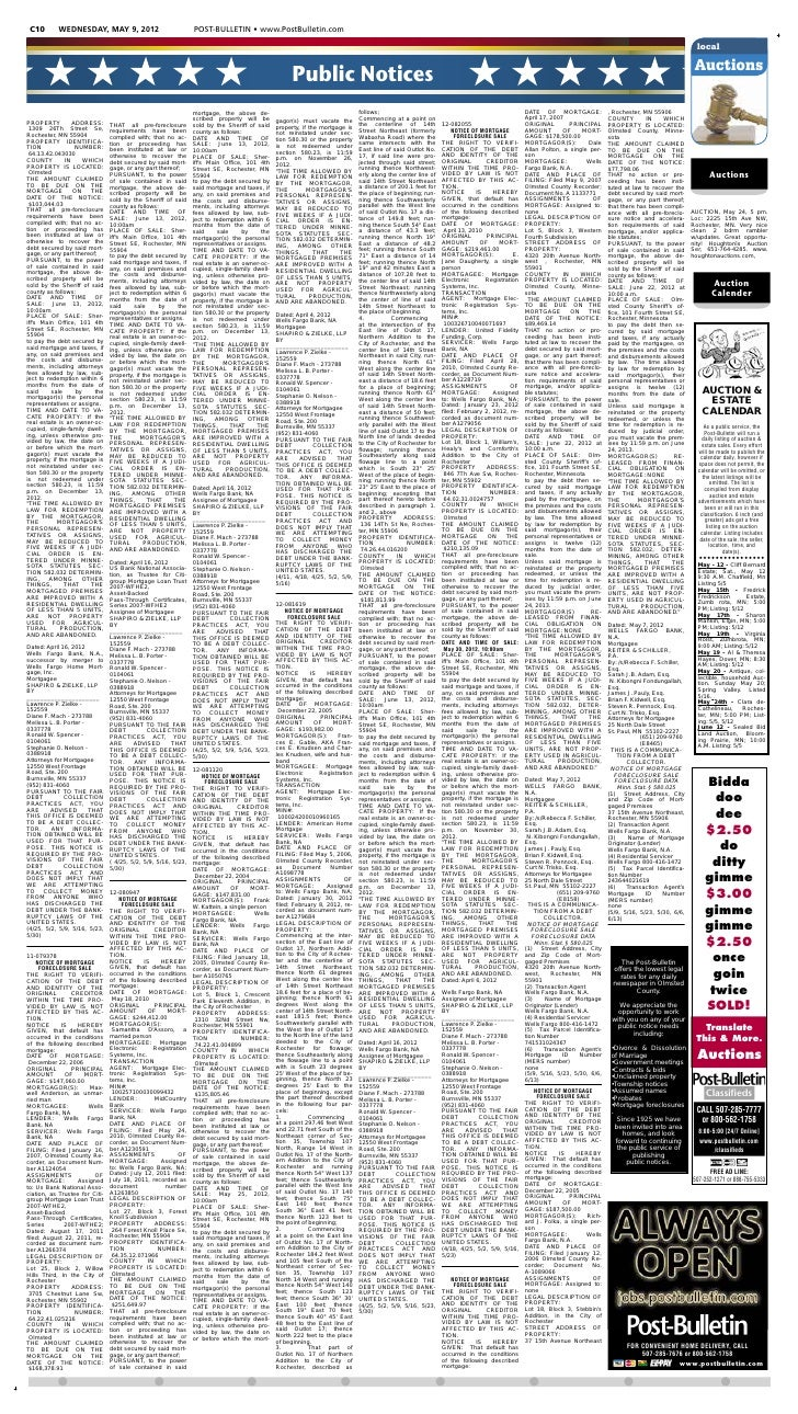 Public notices for May 9, 2012