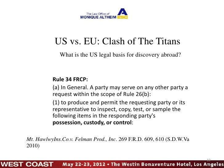 Cross Border Ediscovery vs. EU Data Protection at LegalTech West Coa…