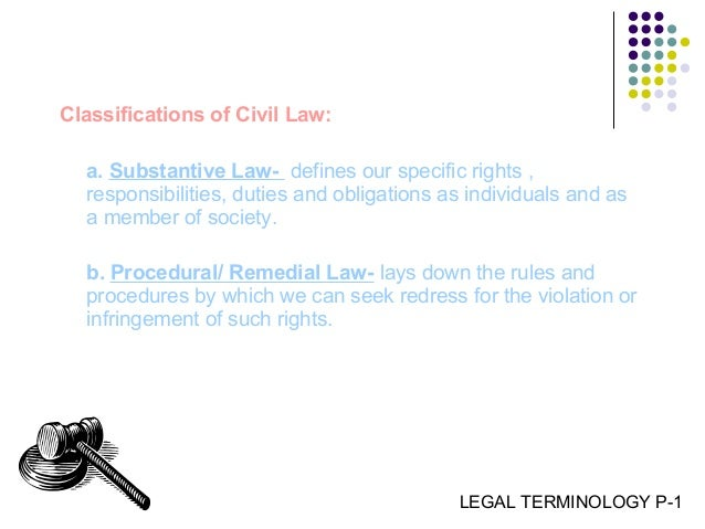 classifications of law: substantive and procedures, and criminal and civil essay Addresses, essays, lectures k181-1847 miscellany  unification k623-968  civil law k625-709 persons k670-709 domestic relations family law   juvenile criminal law and procedure k7000-7720  substantive law branches  of law.