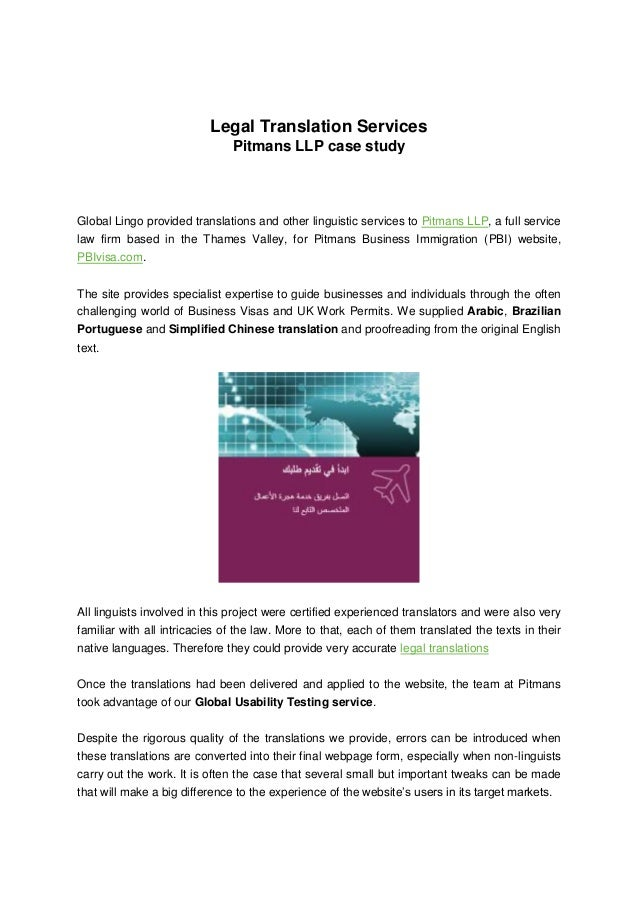 Legal Translation Services Pitmans LLP case study Global Lingo provided translations and other linguistic services to Pitm...