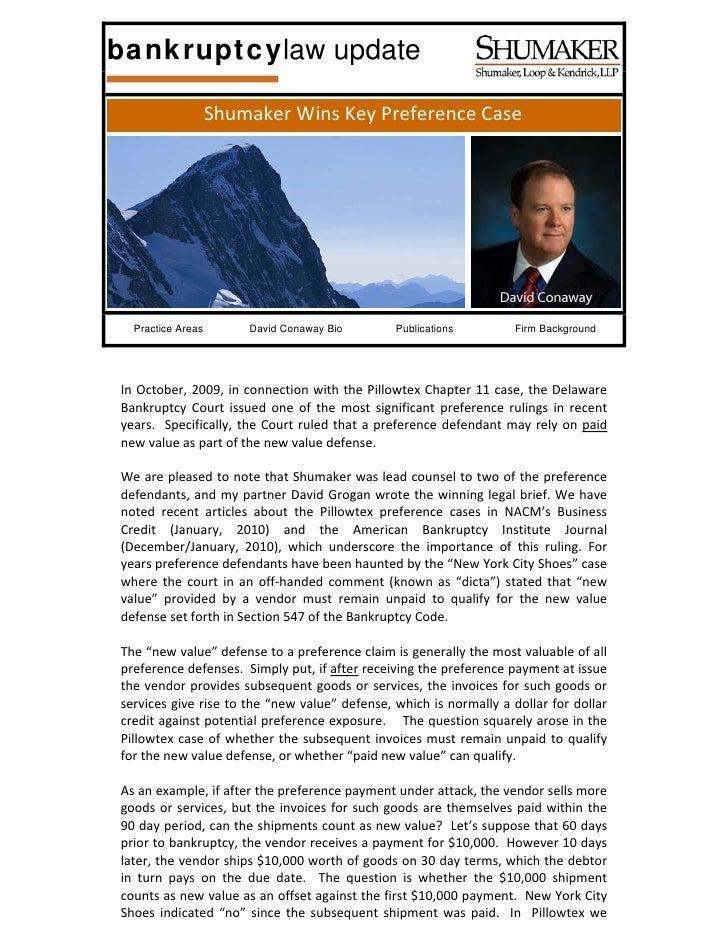 bankruptcylaw update                     ShumakerWinsKeyPreferenceCase       Practice Areas        David Conaway Bio ...