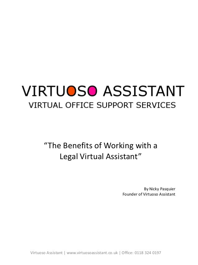 """Virtuoso Assistant   www.virtuosoassistant.co.uk   Office: 0118 324 0197 """"The Benefits of Working with a Legal Virtual Ass..."""