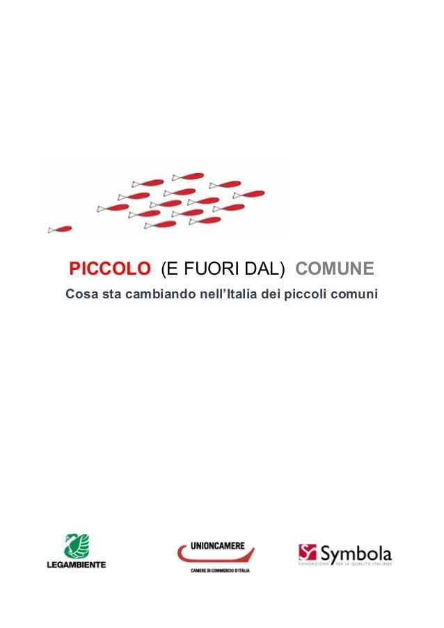 PICCOLO (E FUORI DAL) COMUNE Cosa sta cambiando nell'Italia dei piccoli comuni