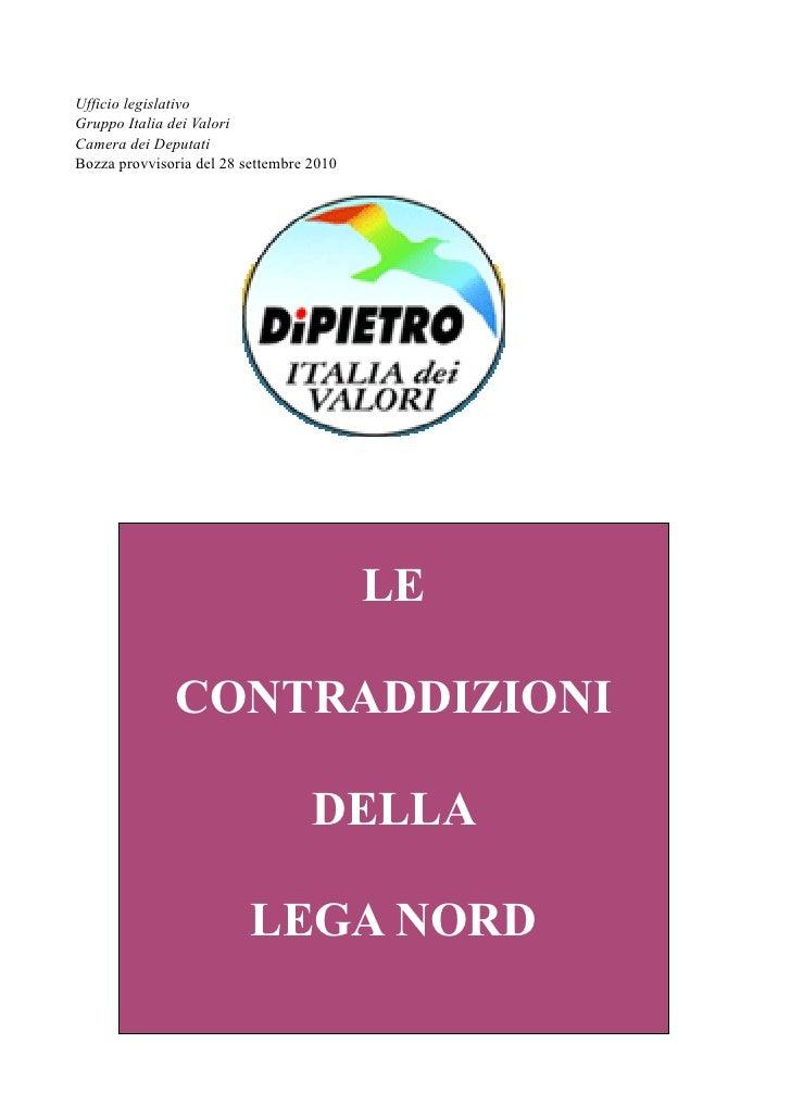 Ufficio legislativo Gruppo Italia dei Valori Camera dei Deputati Bozza provvisoria del 28 settembre 2010                  ...