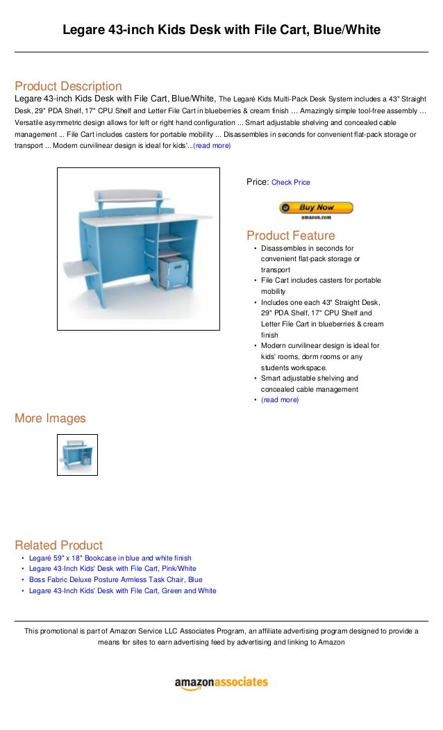 OoooLegare 43 Inch Kids Desk With File Cart Blue