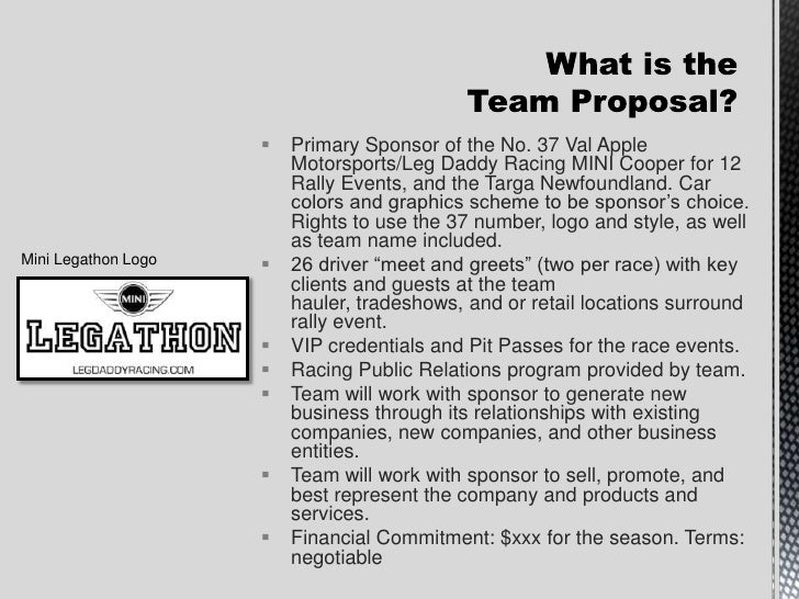 Leg daddy racing sponsorship proposal for Motorsports sponsorship proposal template