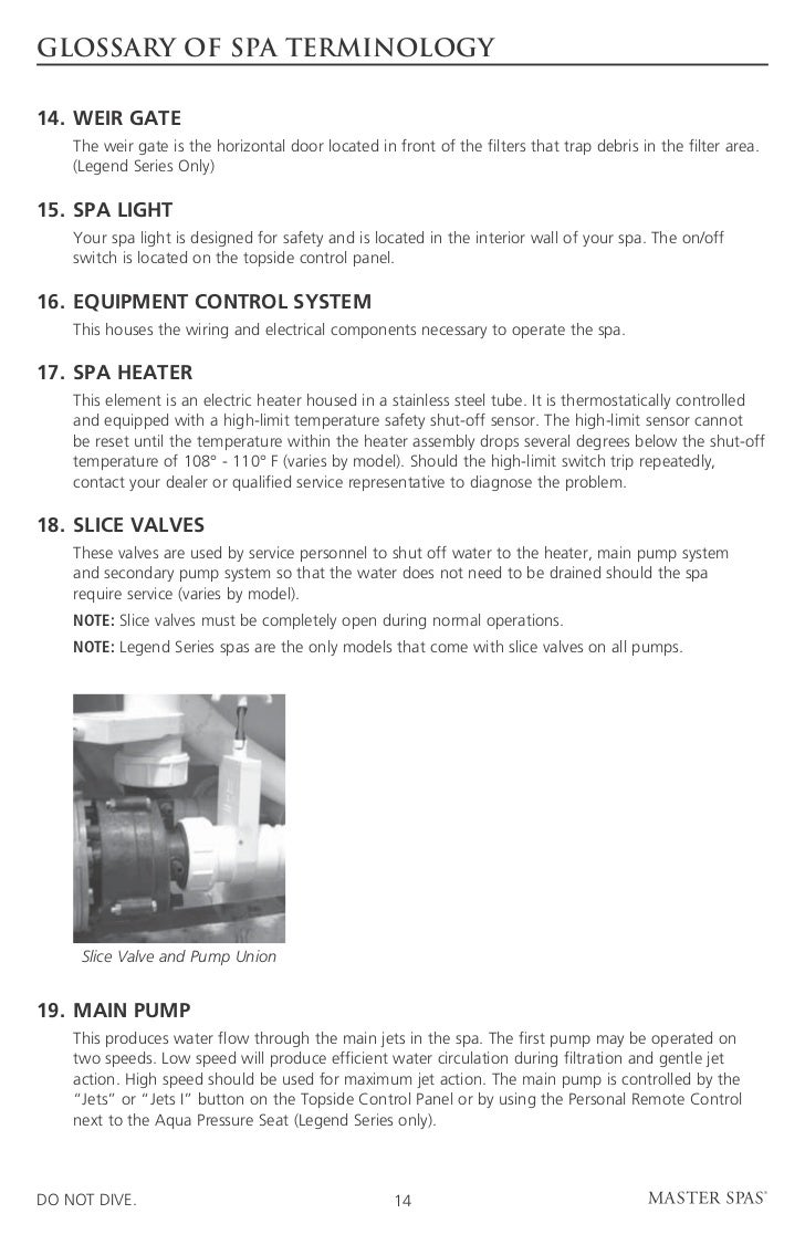Legend De Master Spas Owners Manual 2011 House Wiring Glossary