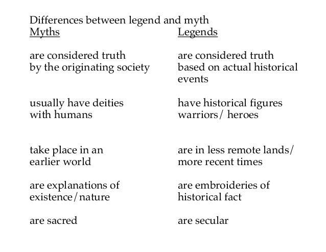 Legend myth differences