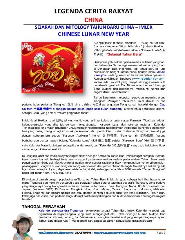 "LEGENDACERITARAKYAT CHINA SEJARAHDANMITOLOGYTAHUNBARUCHINA–IMLEK CHINESELUNARNEWYEAR ""Gōngxǐ fācái"" (bahas..."