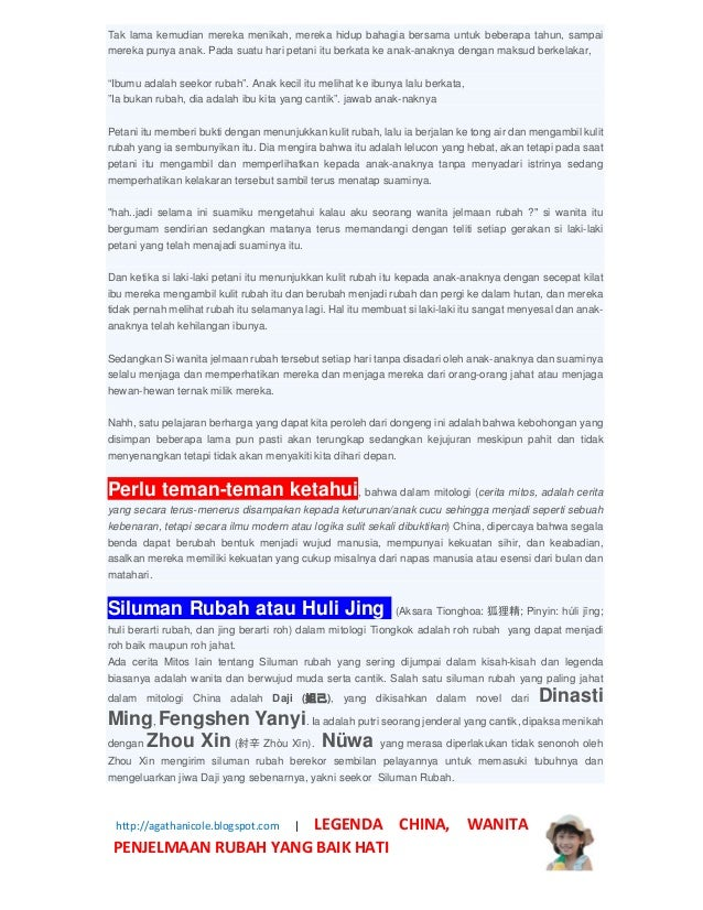 Legenda China Wanita Penjelmaan Rubah Baik Hati Http Agathanicole Blogspot