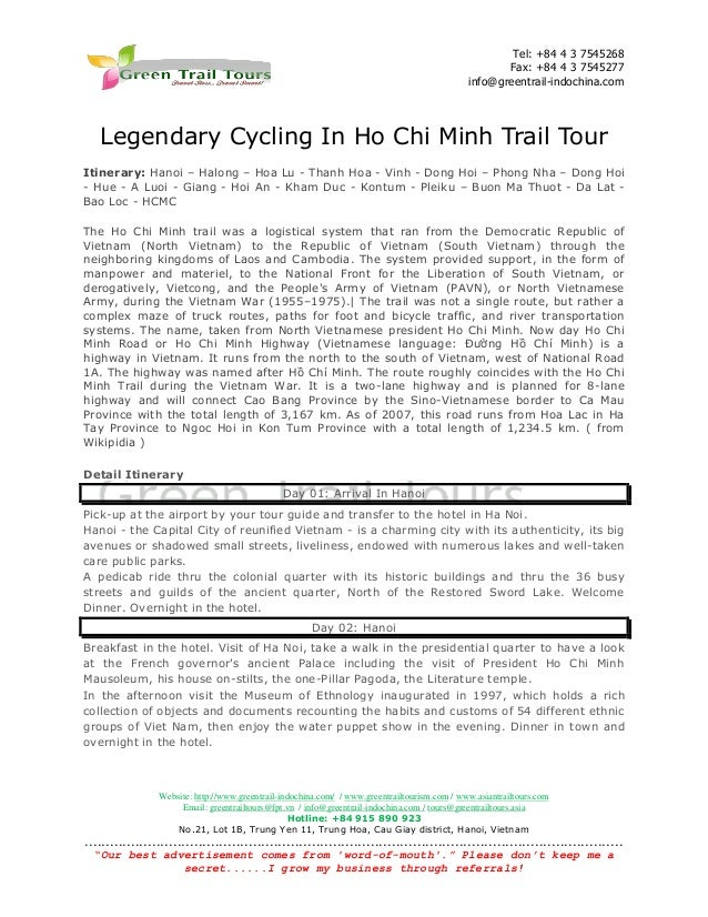 Tel: +84 4 3 7545268 Fax: +84 4 3 7545277 info@greentrail-indochina.com  Legendary Cycling In Ho Chi Minh Trail Tour Itine...